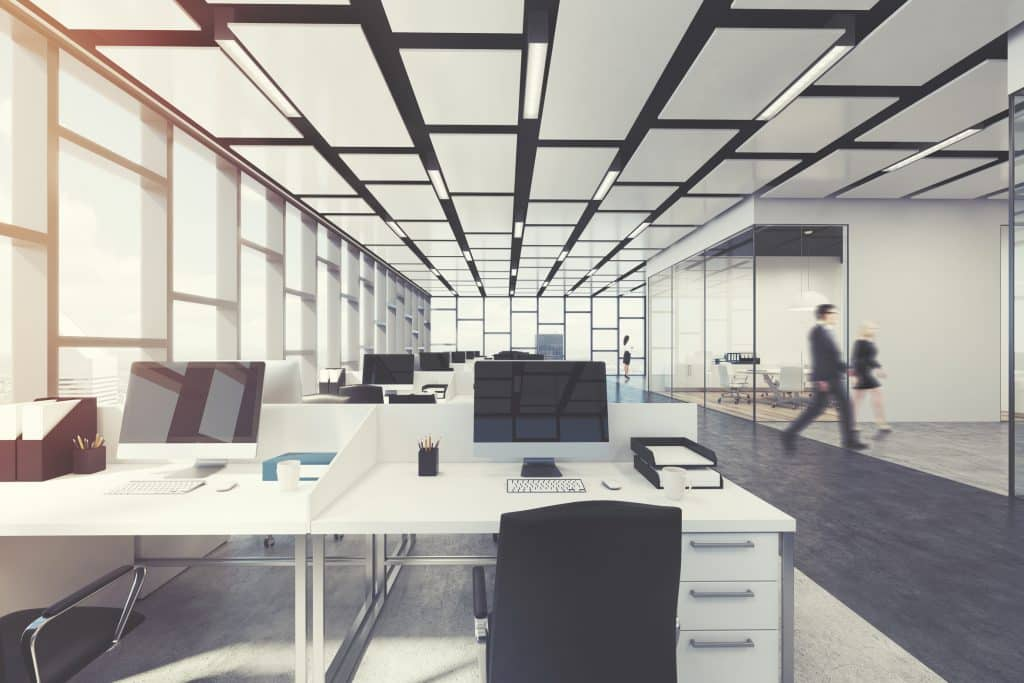 Rectangular open space office interior